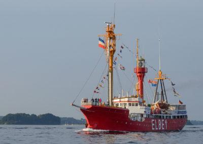Feuerschiff Elbe 1  vor der kleinen Ochseninsel